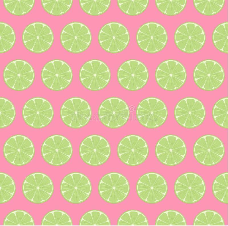 Modello senza cuciture del limone della fetta delle fette regolari luminose e variopinte della calce con fondo rosa luminoso royalty illustrazione gratis