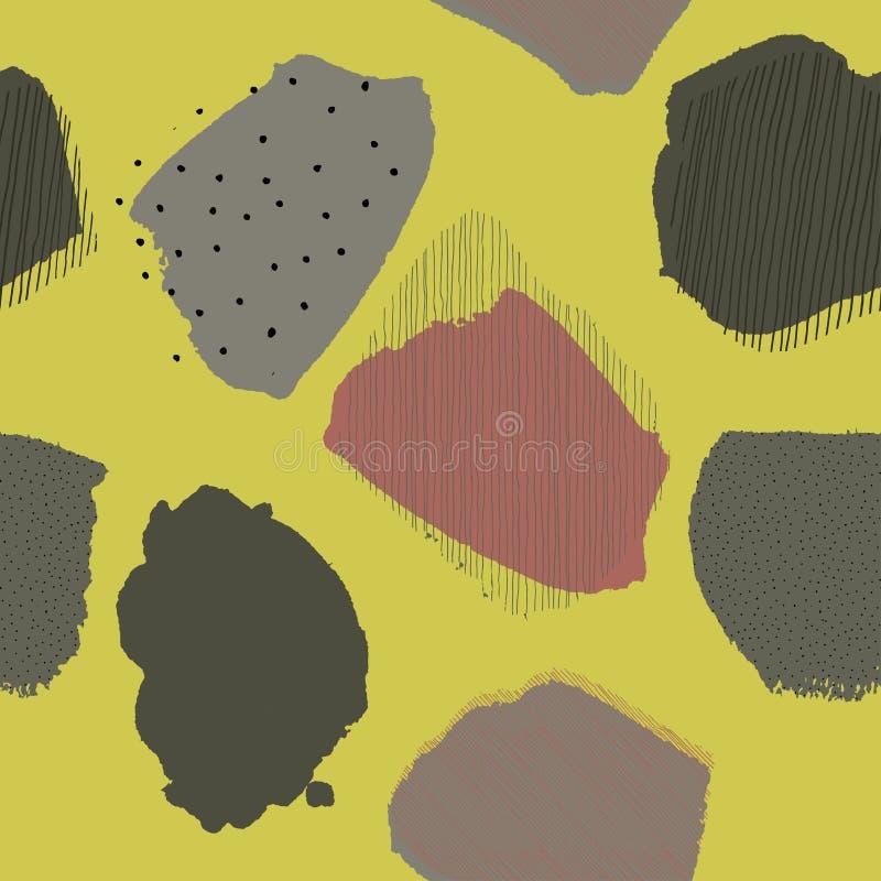 Modello senza cuciture del limone delle bacche astratte contemporanee del collage illustrazione di stock