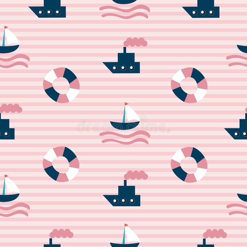 Modello senza cuciture del mare con la barca, la lancia di salvataggio e le strisce disegnate a mano su fondo come tessuto, tessu royalty illustrazione gratis