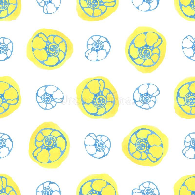Download Modello Senza Cuciture Del Mare Con Le Coperture Dell'acquerello Fondo Dell'ammonite Vettore Di Estate Illustrazione Vettoriale - Illustrazione di nave, carta: 56884878