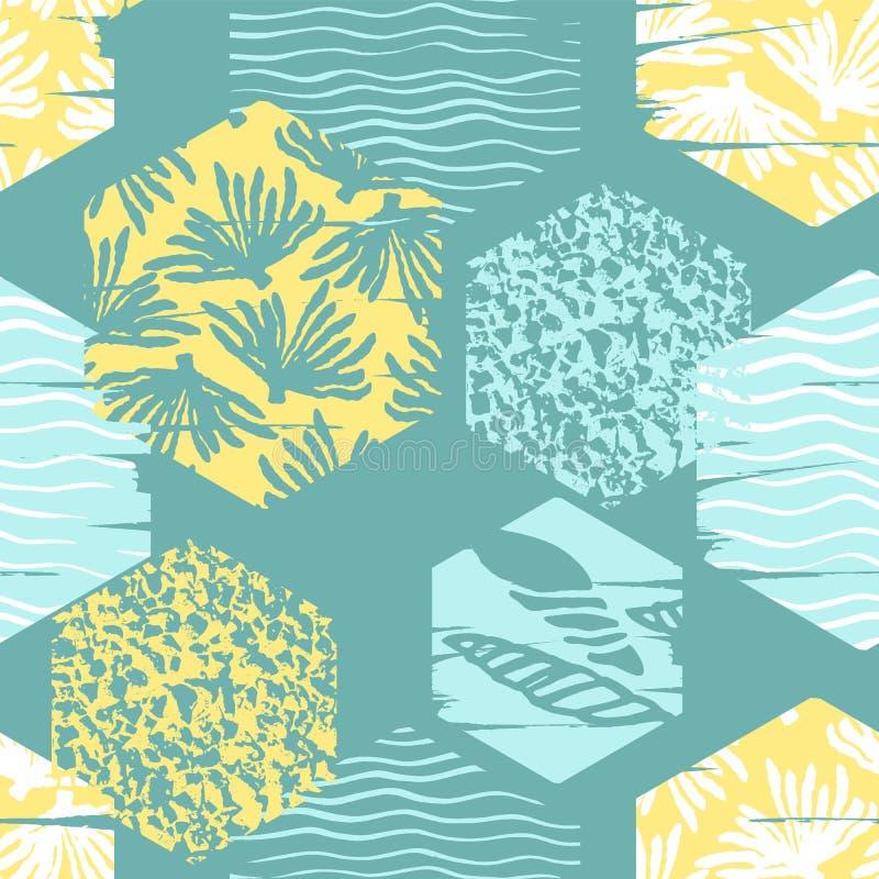 Modello senza cuciture del mare d'avanguardia con struttura della mano e gli elementi geometrici illustrazione vettoriale