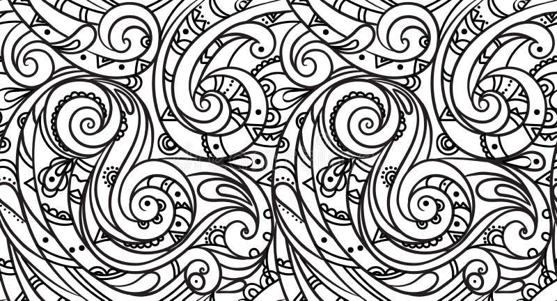 Modello senza cuciture del mare, onda in bianco e nero Pagine adulte di coloritura royalty illustrazione gratis