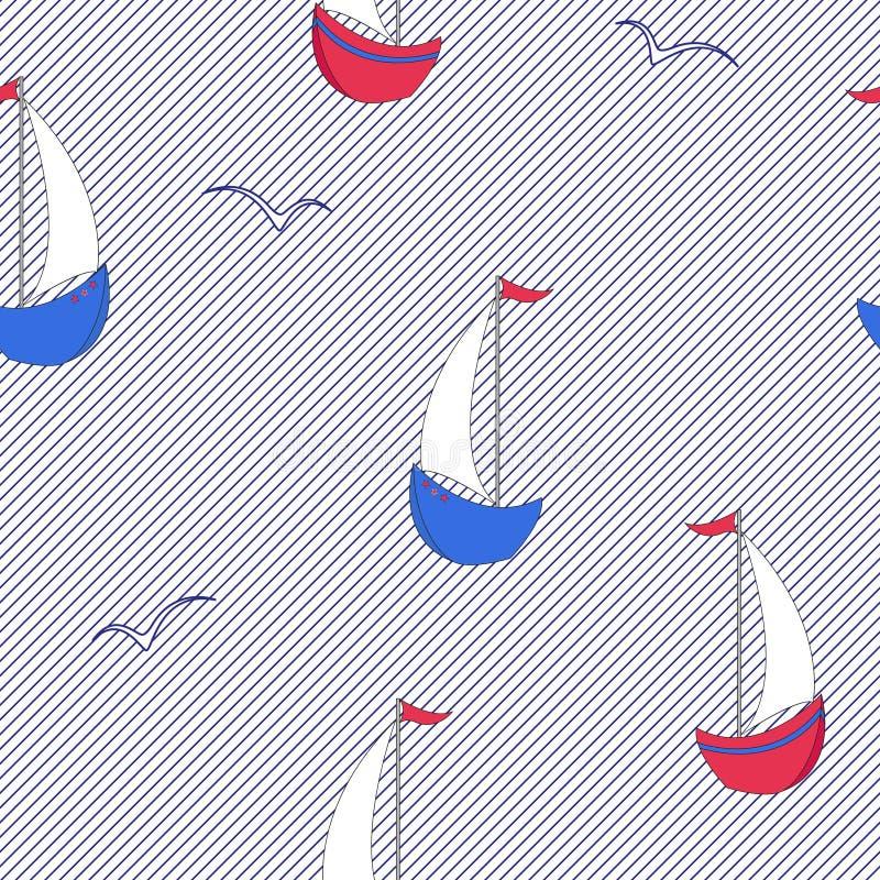 Modello senza cuciture del marinaio dalle barche a vela del fumetto, gabbiani Vettore di colore su un fondo a strisce illustrazione di stock