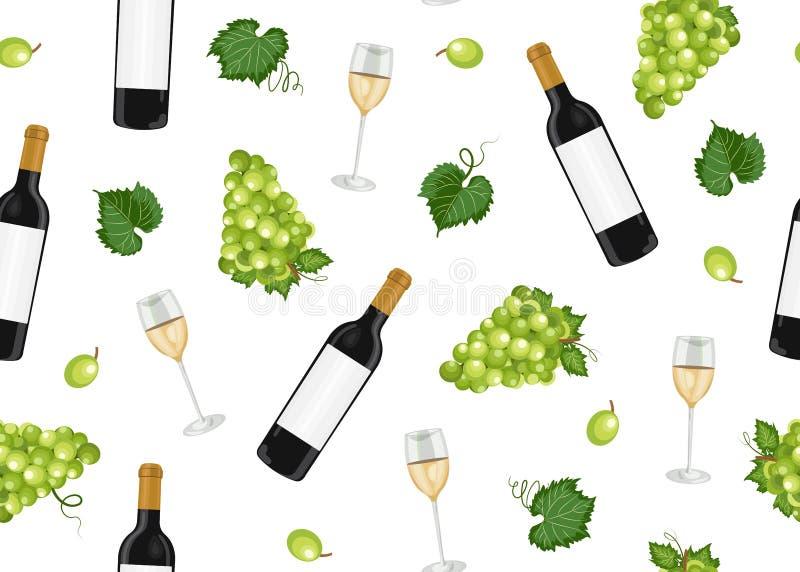 Modello senza cuciture del mazzo dell'uva con i vetri e le bottiglie di vino bianco su fondo bianco, fondo del modello dell'uva b royalty illustrazione gratis