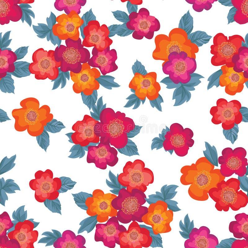 Modello senza cuciture del mazzo floreale Priorità bassa di rosa del fiore illustrazione di stock