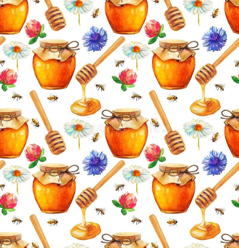 Modello senza cuciture del miele dell'acquerello illustrazione di stock