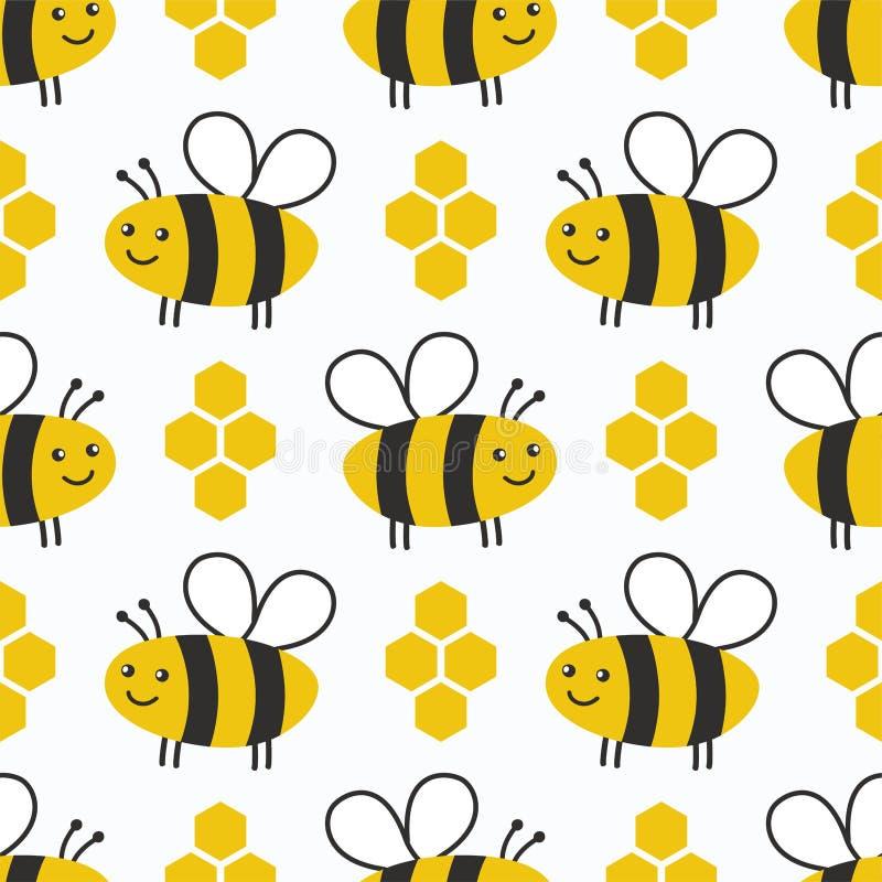 Modello senza cuciture del miele sveglio Fondo dei bambini delle api royalty illustrazione gratis