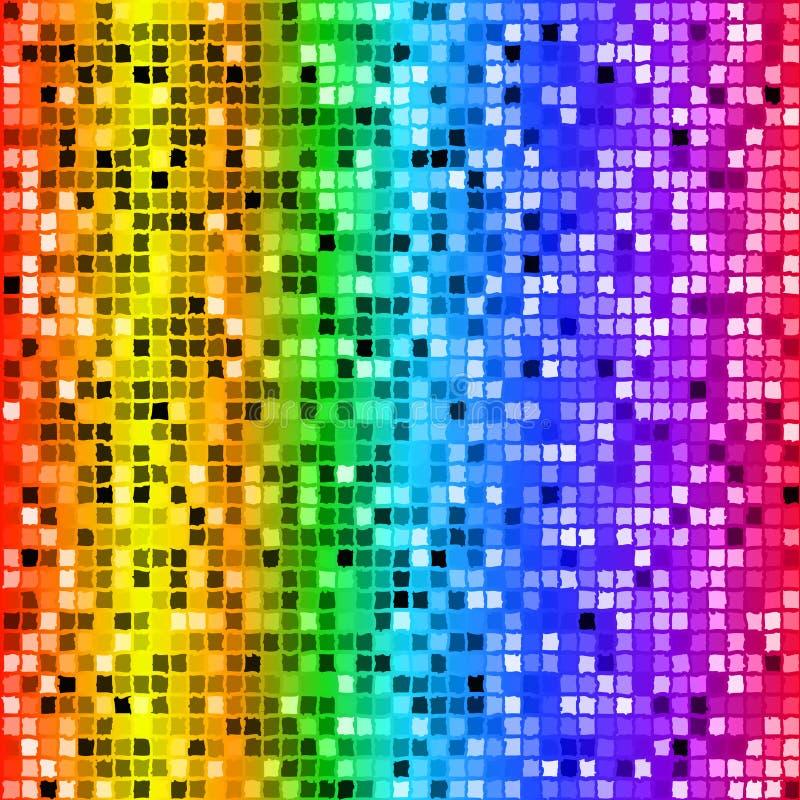 Modello senza cuciture del mosaico di rettangolo colorato arcobaleno luminoso illustrazione di stock