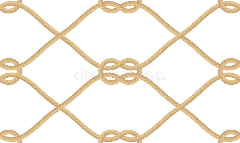 Modello senza cuciture del nodo nautico realistico della corda isolato su bianco Struttura per la stampa o i prodotti tessili, ca illustrazione di stock