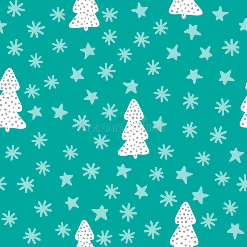 Modello senza cuciture del nuovo anno Alberi di Natale, fiocchi di neve, stelle Schizzo, scarabocchio, disegnato a mano illustrazione di stock