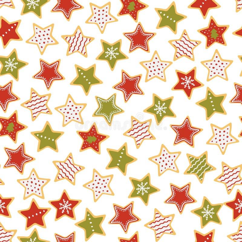 Modello senza cuciture del pan di zenzero a forma di stella di Natale Dolci di natale Illustrazione di vettore illustrazione vettoriale