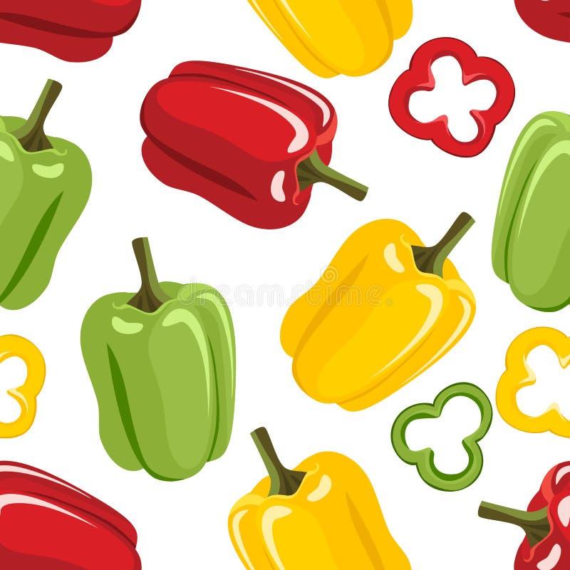 Modello senza cuciture del peperone dolce Paprica gialla, verde e rossa, fette illustrazione di stock