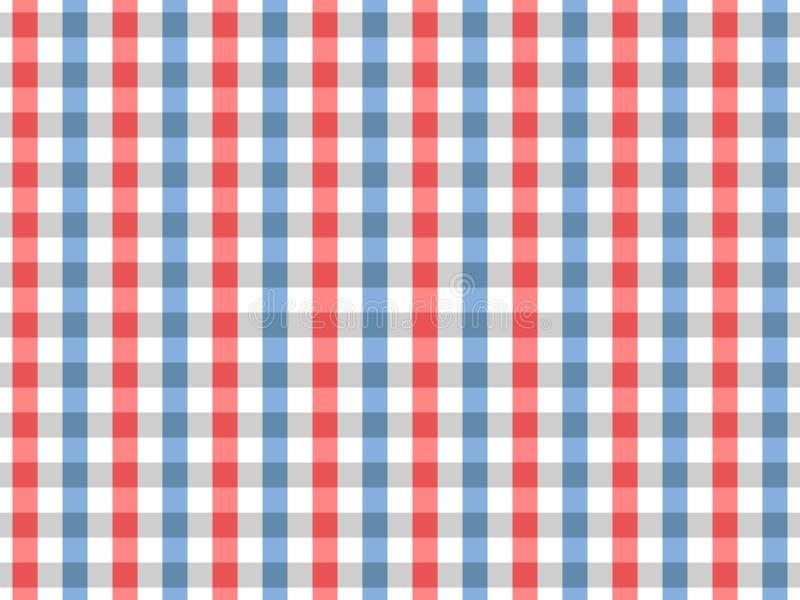 Modello senza cuciture del percalle della tovaglia rossa e blu Una progettazione di due colori illustrazione di stock