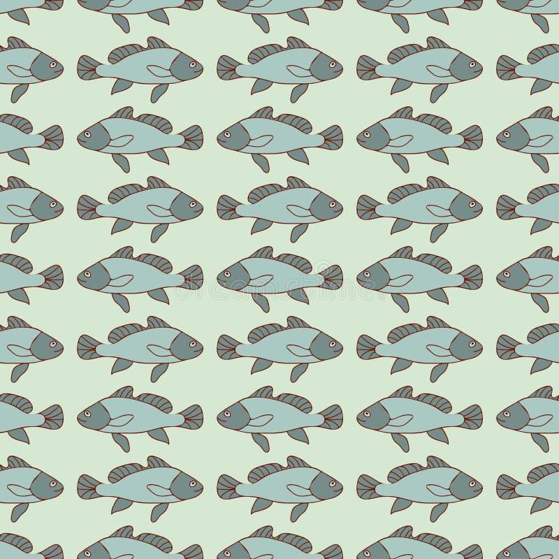 Modello senza cuciture del pesce tirato del fumetto, fondo nautico di vettore Estratto in una fila, ripetente elemento Per la pro royalty illustrazione gratis