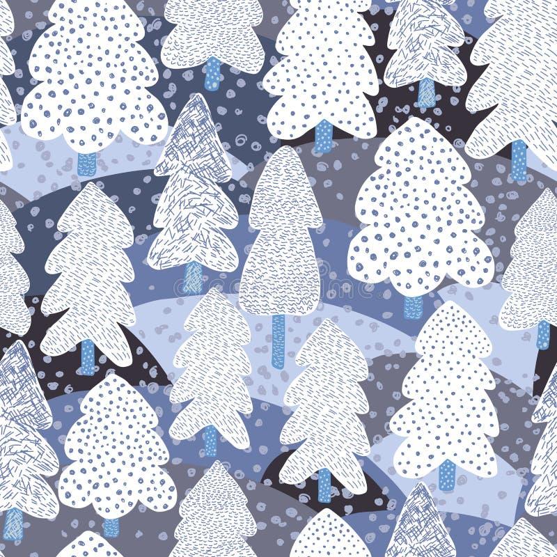 Modello senza cuciture del pino disegnato a mano di inverno Fondo della foresta di scarabocchio royalty illustrazione gratis