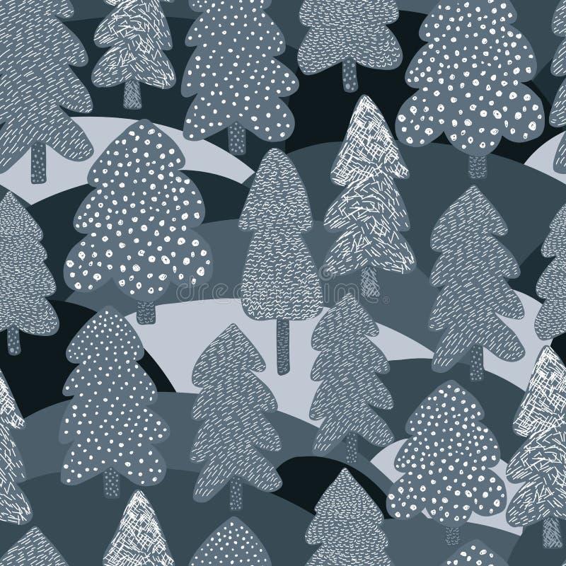 Modello senza cuciture del pino scandinavo di inverno Fondo della foresta di scarabocchio royalty illustrazione gratis