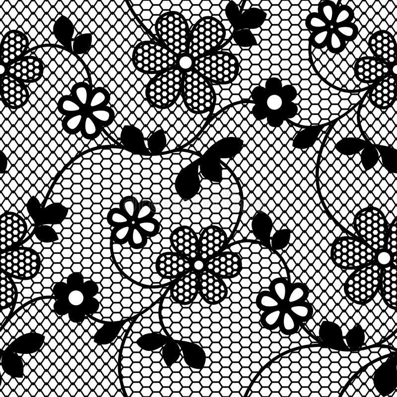 Modello senza cuciture del pizzo con il ramo di fioritura illustrazione vettoriale