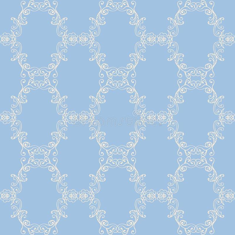Modello senza cuciture del pizzo del damasco floreale Carta da parati barrocco senza cuciture d'annata illustrazione di stock