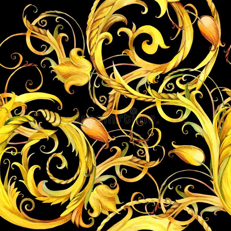 Modello senza cuciture del pizzo dorato fondo d'annata dell'acquerello del ricciolo illustrazione di stock