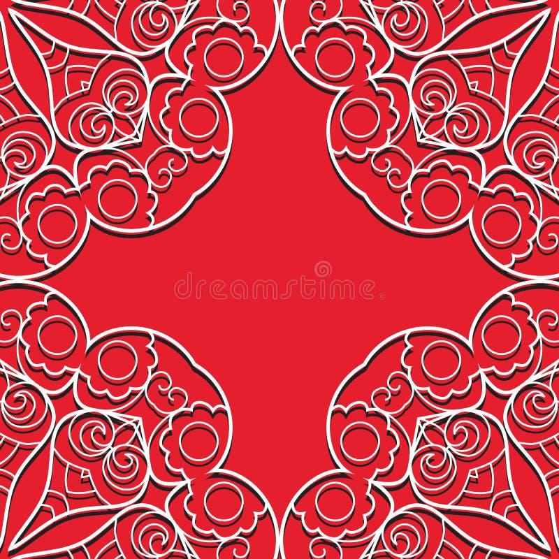 Modello senza cuciture del pizzo rosso royalty illustrazione gratis