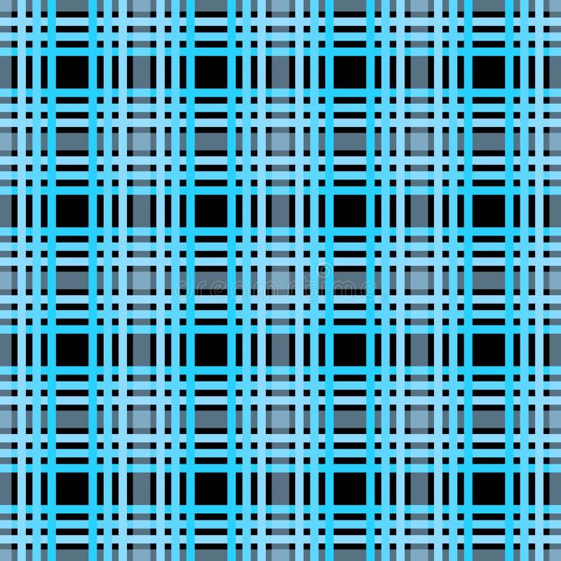 Modello senza cuciture del plaid di tartan Stampa a quadretti di struttura del tessuto in eps10 blu-chiaro e nero grigiastro scur royalty illustrazione gratis