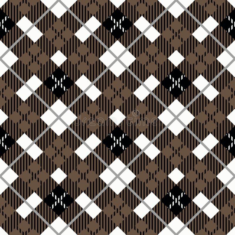 Modello senza cuciture del plaid di tartan Struttura a quadretti tradizionale del tessuto in tavolozza di marrone, in bianco e ne royalty illustrazione gratis