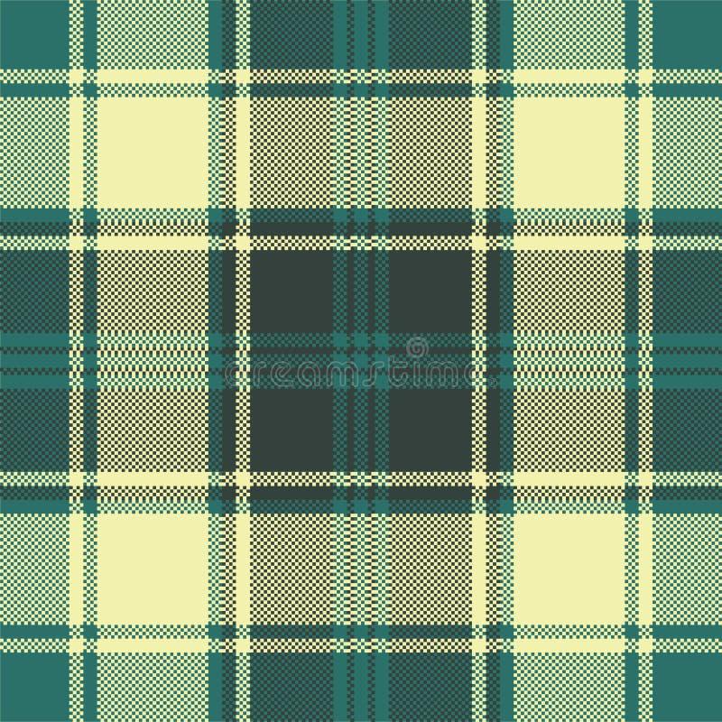Modello senza cuciture del plaid del pixel giallo verde del controllo royalty illustrazione gratis