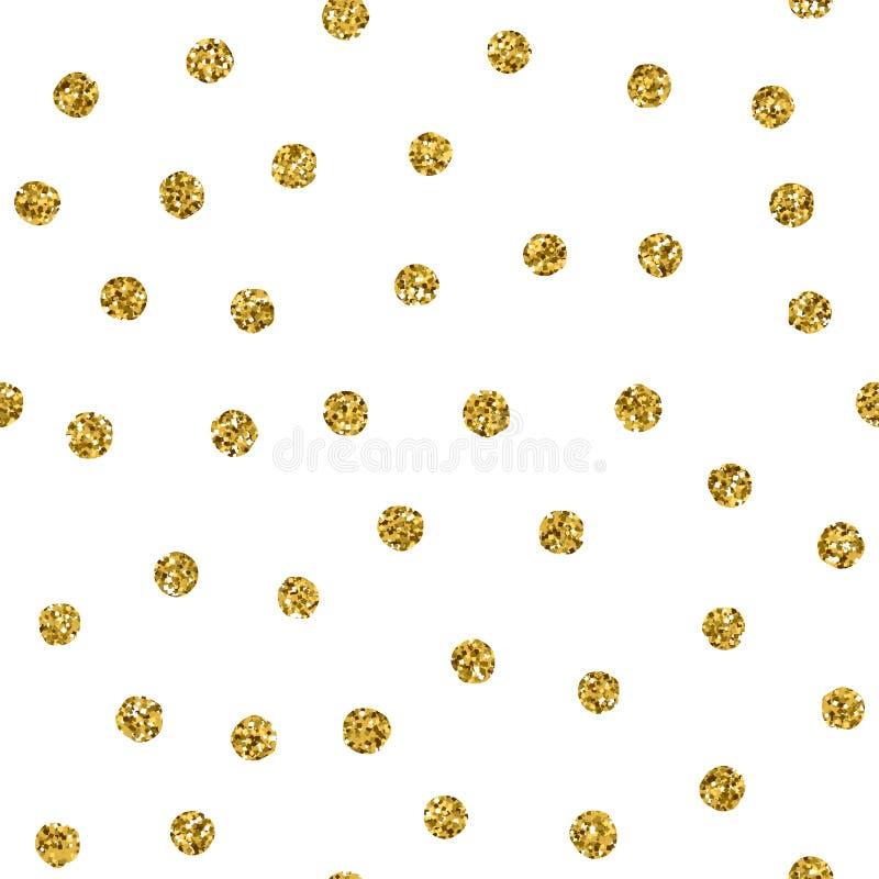 Modello senza cuciture del pois con il punto di scintillio dell'oro Struttura dorata caotica di vettore con i punti di riflesso i illustrazione vettoriale