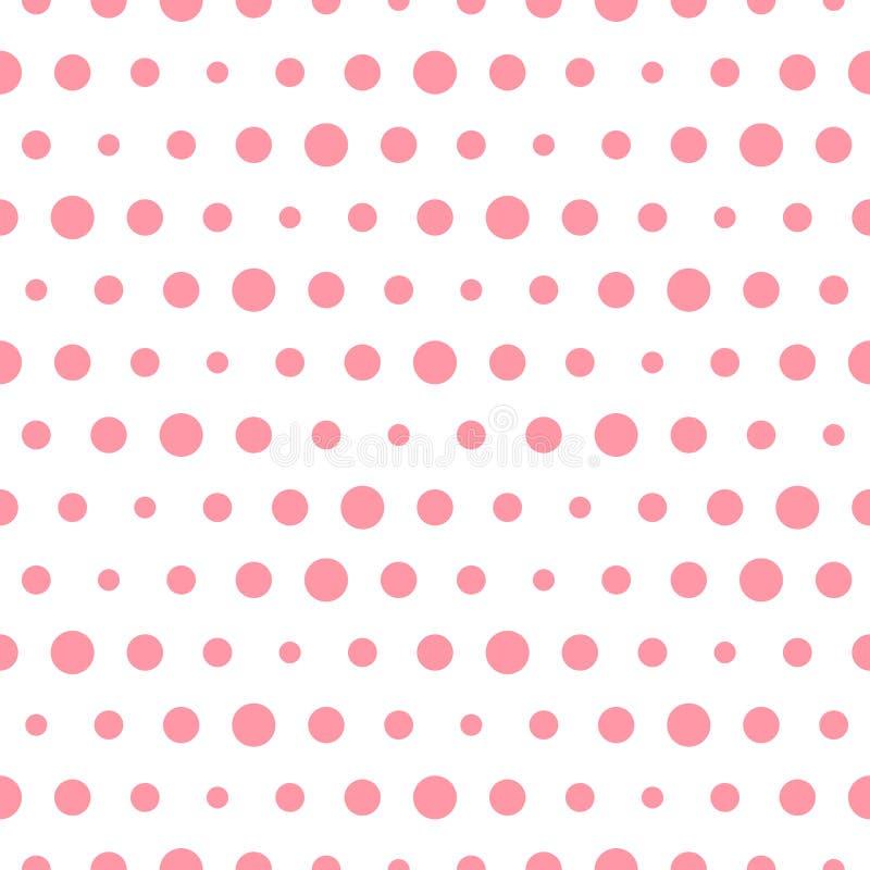 Modello senza cuciture del pois rosa di vettore Cerchi di siz differente illustrazione vettoriale