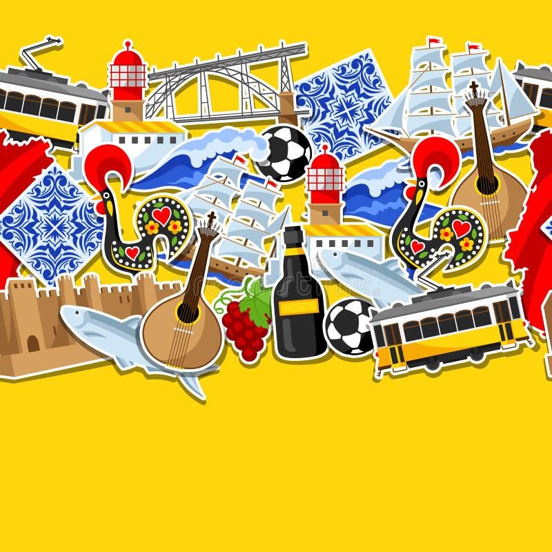 Modello senza cuciture del Portogallo con gli autoadesivi Simboli ed oggetti tradizionali nazionali portoghesi illustrazione vettoriale