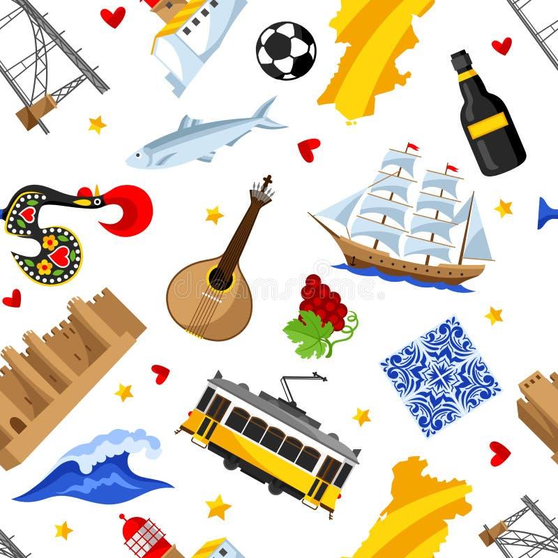 Modello senza cuciture del Portogallo Simboli ed oggetti tradizionali nazionali portoghesi royalty illustrazione gratis