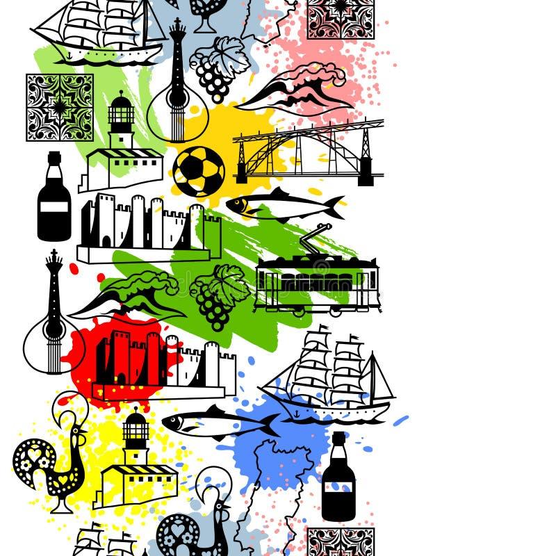 Modello senza cuciture del Portogallo Simboli ed oggetti tradizionali nazionali portoghesi illustrazione di stock