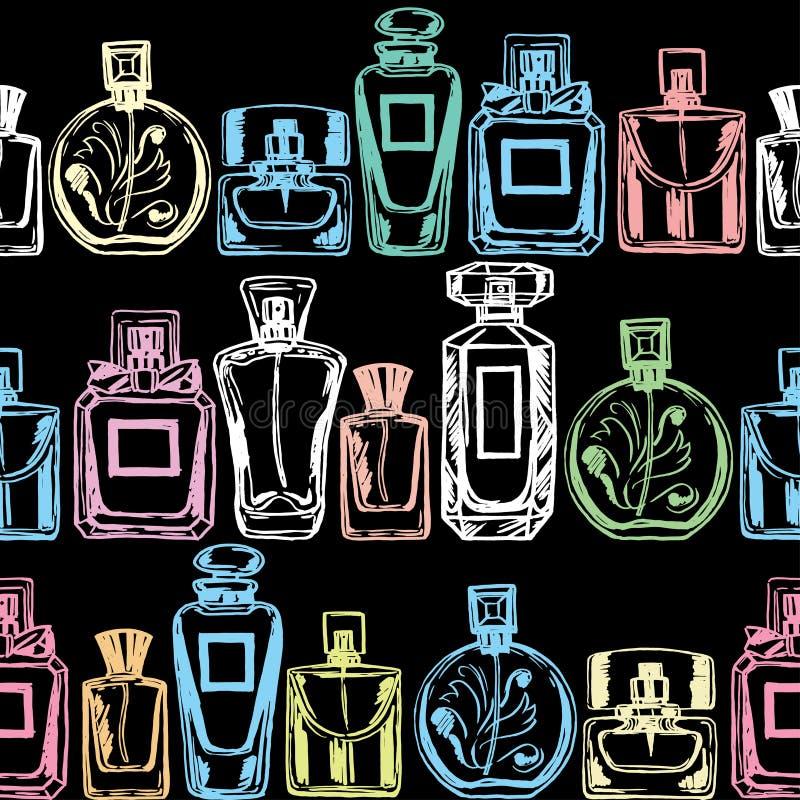Modello senza cuciture del profumo di vettore Illustrazione disegnata a mano illustrazione di stock