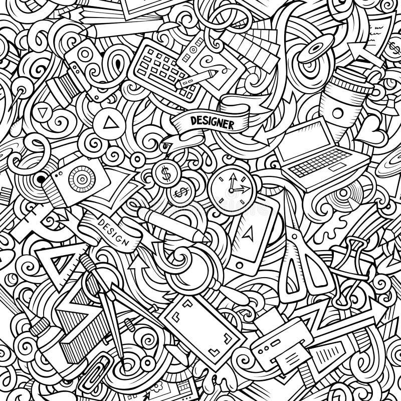 Modello senza cuciture del progettista disegnato a mano sveglio di scarabocchi del fumetto royalty illustrazione gratis