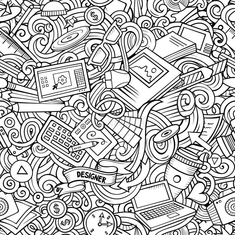 Modello senza cuciture del progettista disegnato a mano sveglio di scarabocchi del fumetto illustrazione di stock