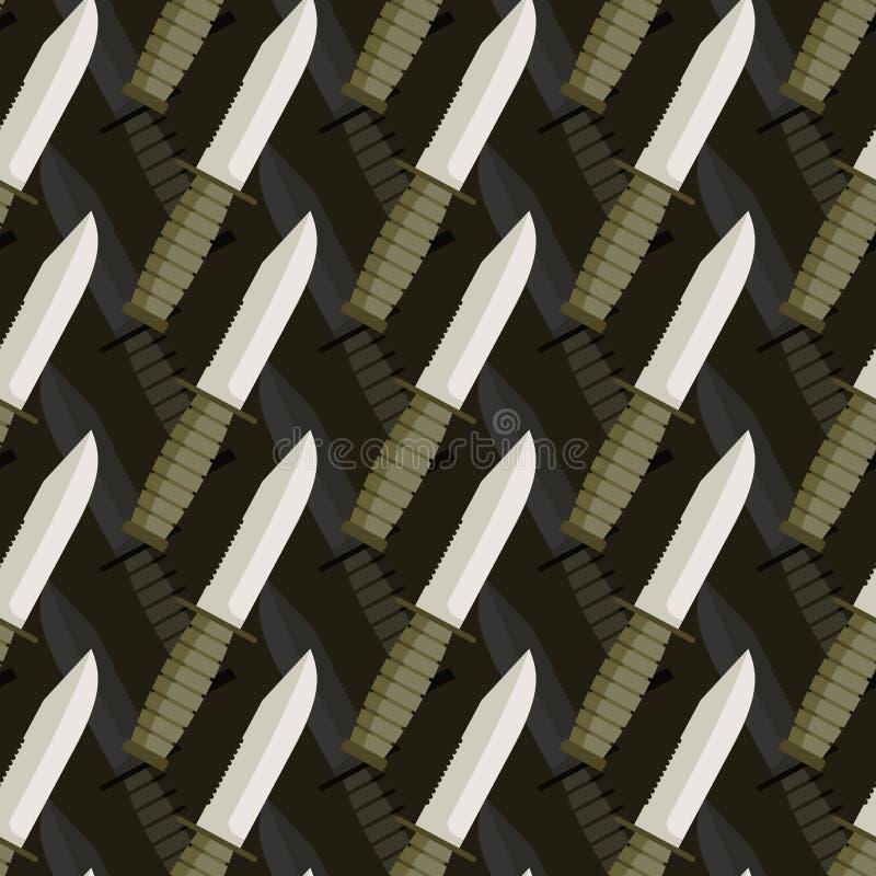 Modello senza cuciture del pugnale militare fondo 3d dei coltelli illustrazione vettoriale
