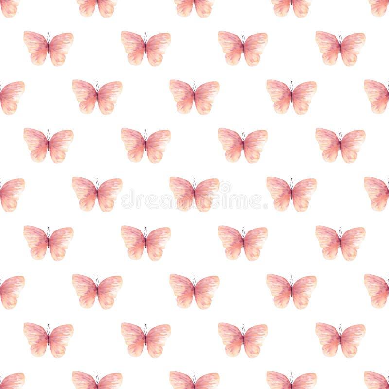 Modello senza cuciture del quadro televisivo delle farfalle rosa-chiaro illustrazione vettoriale