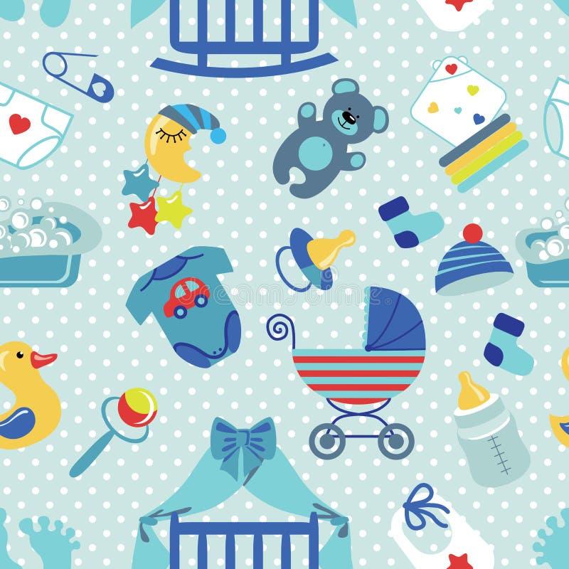 Modello senza cuciture del ragazzo di neonato Pois illustrazione di stock