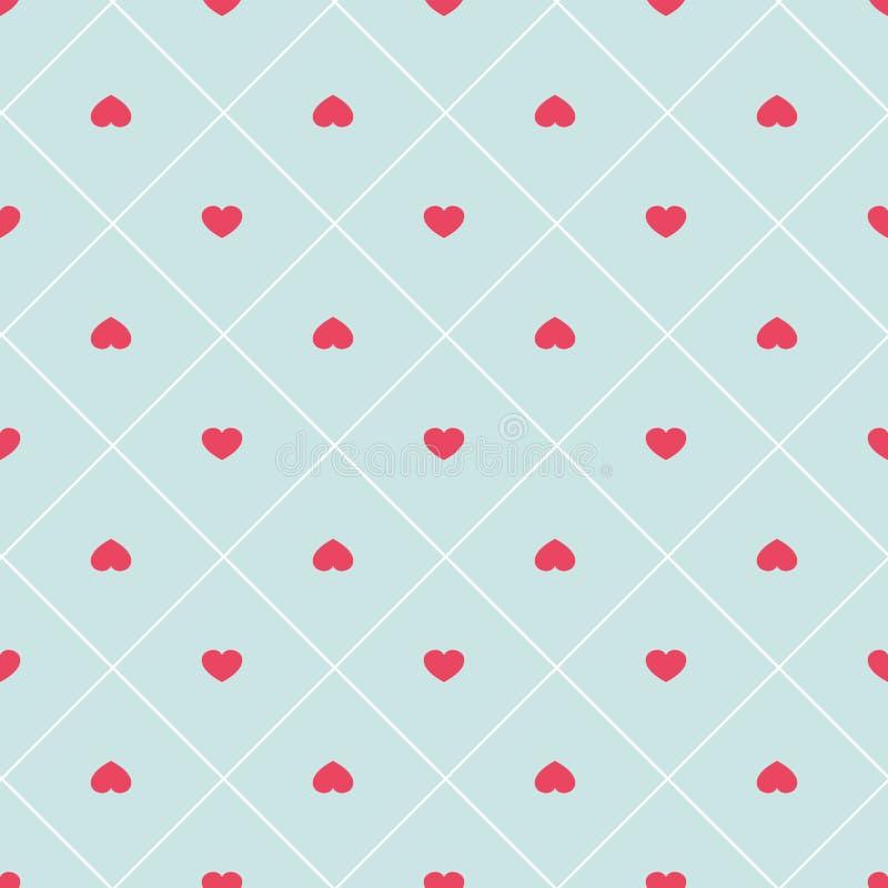 Modello senza cuciture del retro cuore astratto sveglio Può essere usato per la carta da parati, i materiali di riempimento della illustrazione vettoriale