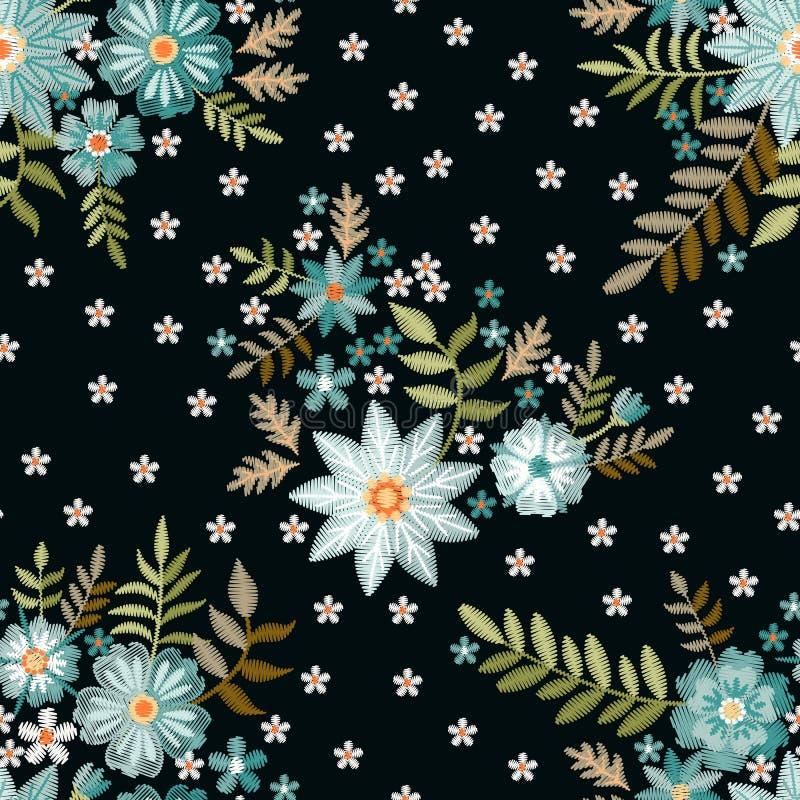 Modello senza cuciture del ricamo con i bei fiori blu e bianchi su fondo nero Stampa di modo per tessuto ed il tessuto illustrazione vettoriale