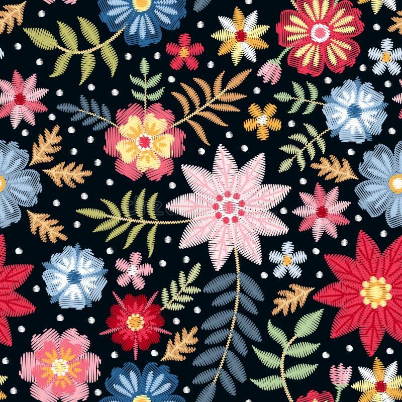 Modello senza cuciture del ricamo con i fiori ditsy variopinti e le foglie Stampa di modo per tessuto royalty illustrazione gratis