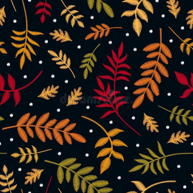 Modello senza cuciture del ricamo con le foglie di autunno in colori differenti e primi fiocchi di neve Piante ricamate variopint illustrazione vettoriale
