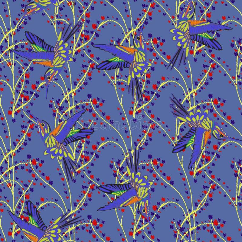 Modello senza cuciture del ricamo dell'uccello di ronzio Bei colibrì e ricamo bianco della camomilla su fondo nero Modello per royalty illustrazione gratis
