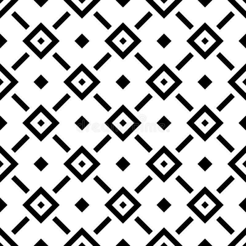 Modello senza cuciture del rombo astratto nella disposizione diagonale Retro fondo di vettore di progettazione Ornamenti neri iso illustrazione vettoriale