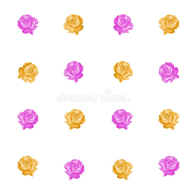 Modello senza cuciture del rosa e delle rose gialle su un fondo bianco illustrazione di stock