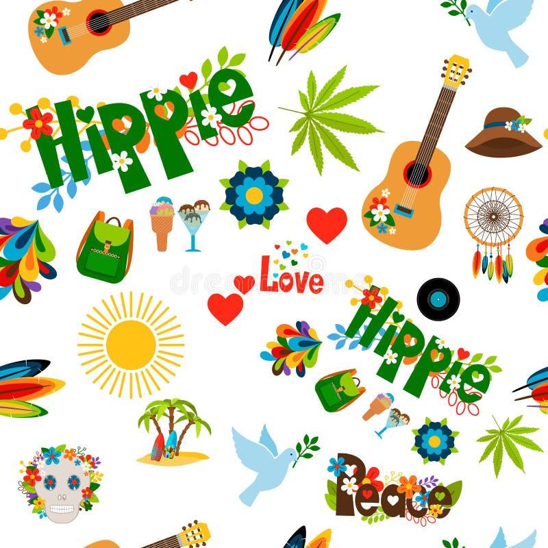 Modello senza cuciture del segno di hippy royalty illustrazione gratis