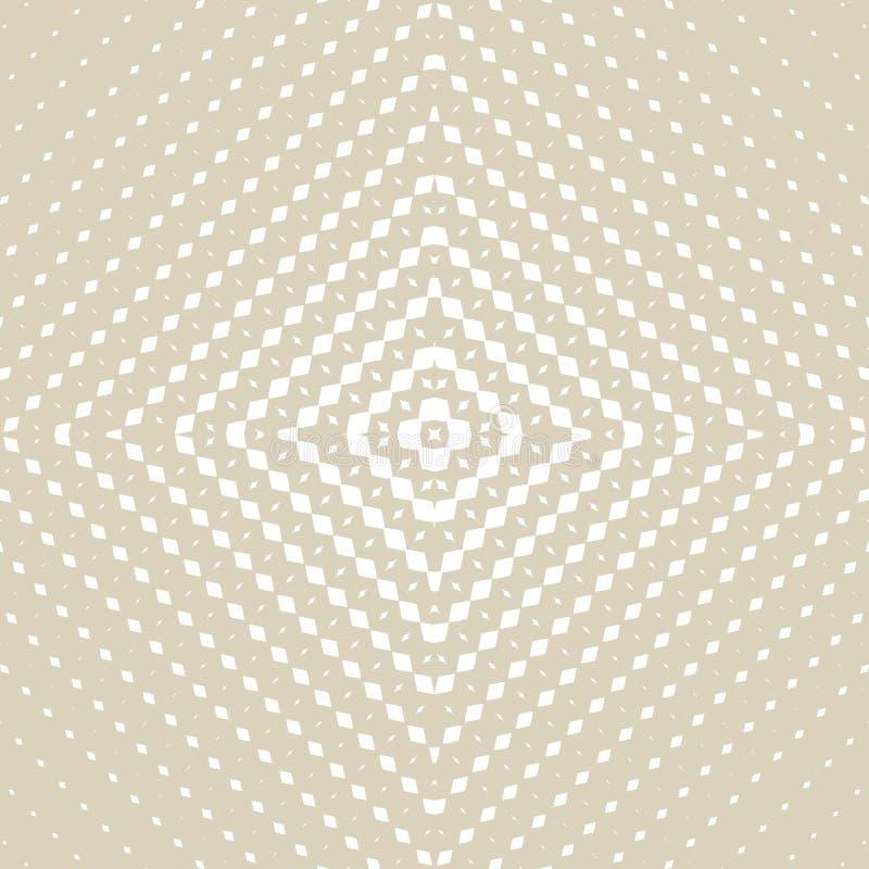Modello senza cuciture del semitono dorato di vettore Pendenza radiale con la griglia quadrata illustrazione di stock
