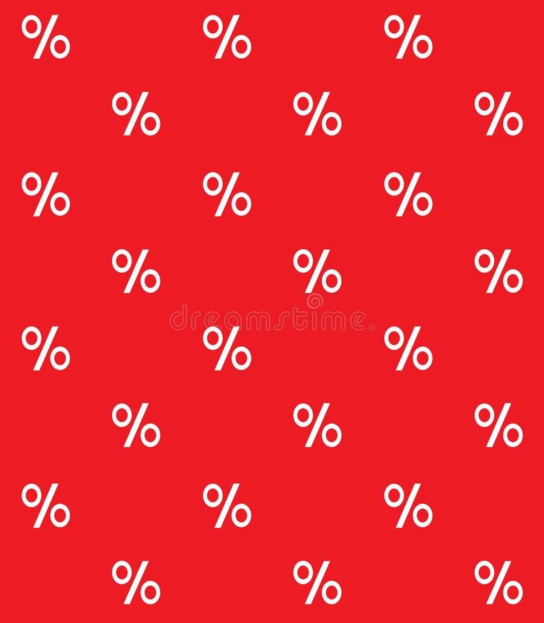 Modello senza cuciture del simbolo bianco delle percentuali su rosso illustrazione vettoriale