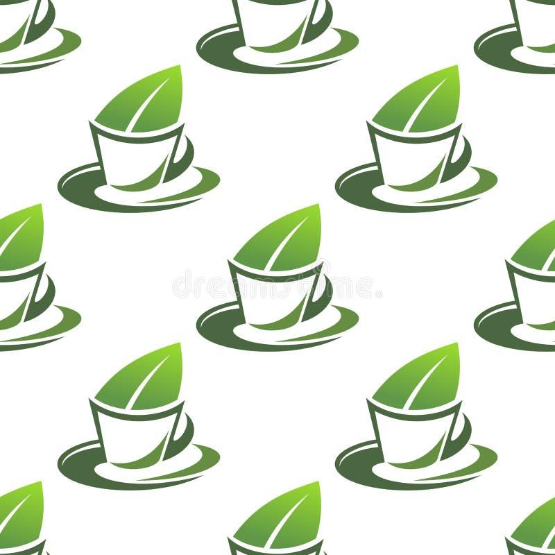 Modello senza cuciture del tè verde organico royalty illustrazione gratis