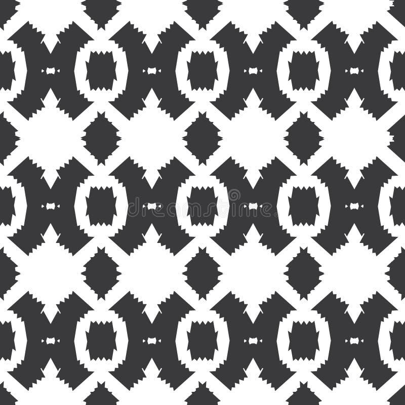 Modello senza cuciture del tessuto bianco nero tribale di vettore illustrazione vettoriale